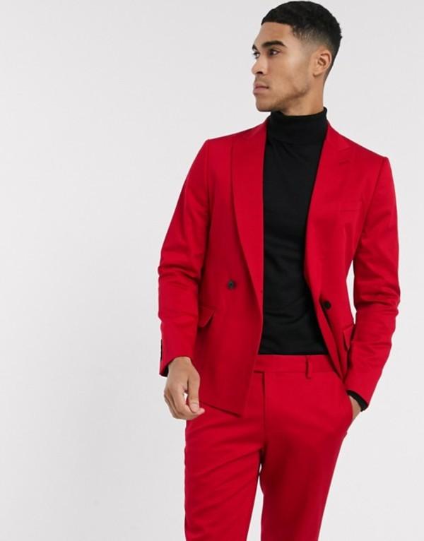 リバーアイランド メンズ ジャケット・ブルゾン アウター River Island double breasted skinny fit suit jacket in red Red