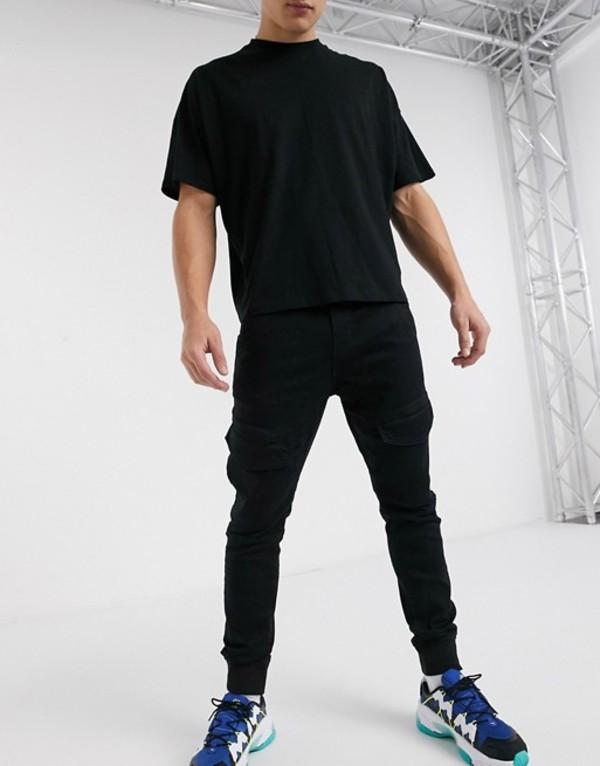 プルアンドベアー メンズ カジュアルパンツ ボトムス Pull&Bear cargo jogger with front pockets in black Black