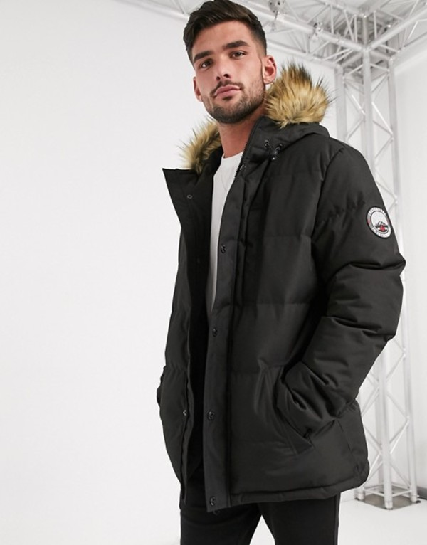 スリードベア メンズ パーカー・スウェット アウター Threadbare quilted parka with faux fur lined hood in black Black