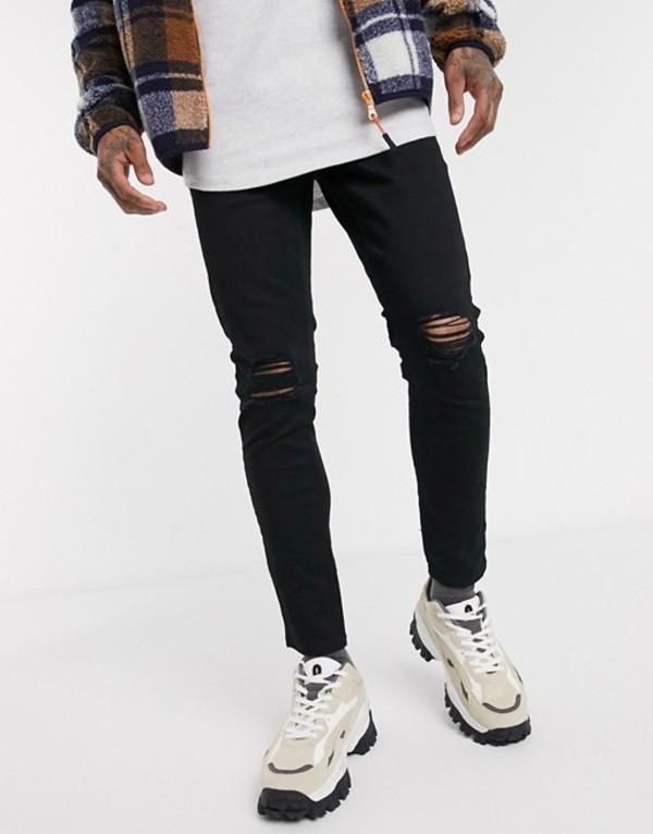 ニュールック メンズ デニムパンツ ボトムス New Look knee rip skinny jeans in black Black