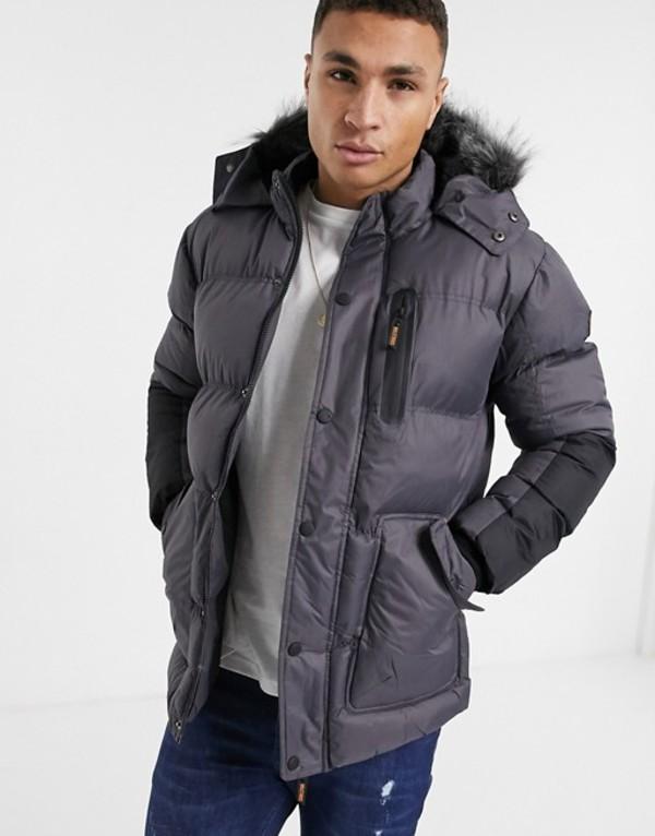 ソウルスター メンズ コート アウター Soul Star padded parka jacket with faux fur hood in gray Charcoal