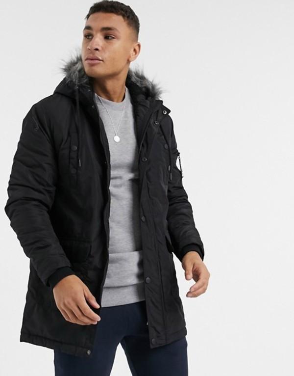 ソウルスター メンズ コート アウター Soul Star parka jacket in black Black