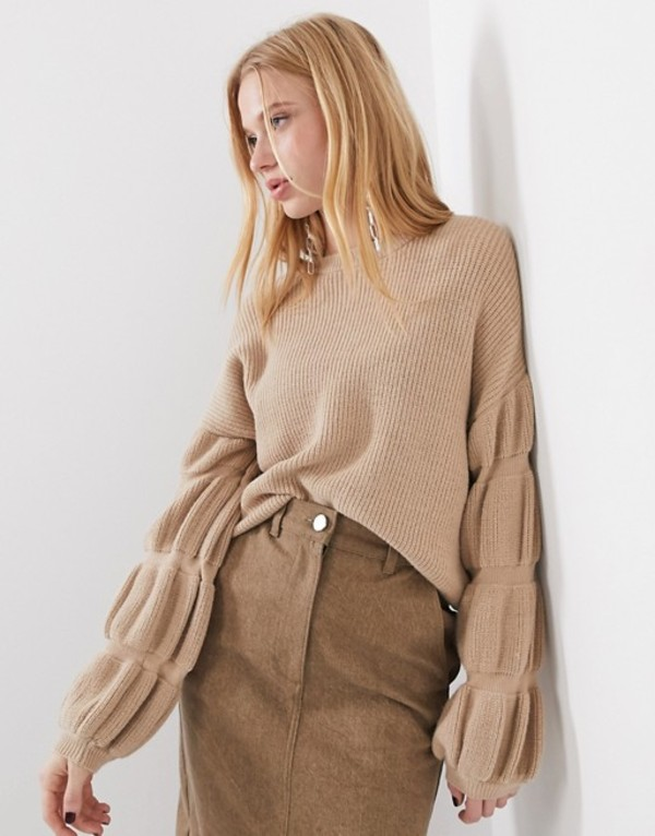 セレクティッド レディース ニット・セーター アウター Selected Femme knitted sweater with sleeve detail in camel Brown