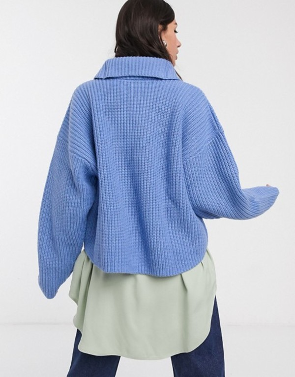 ウィークデイ レディース ニット・セーター アウター Weekday Alissa zip detail roll neck sweater in dove blue Sky bluemnvNw08