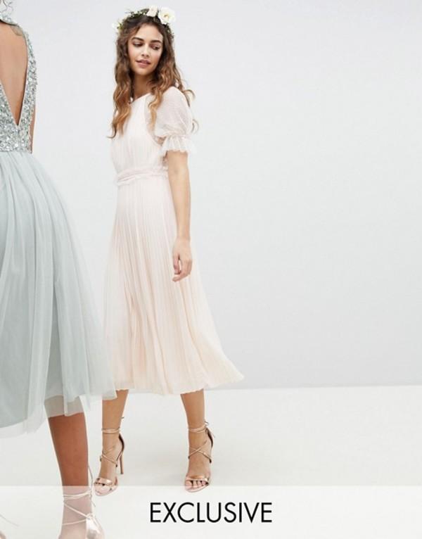 ティエフエヌシー レディース ワンピース トップス TFNC Pleated Midi Bridesmaid Dress With Spot Mesh Frill Detail Nude