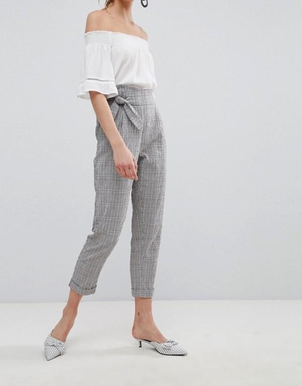 マンゴ レディース カジュアルパンツ ボトムス Mango Tie Front Cropped Check Pants Grey