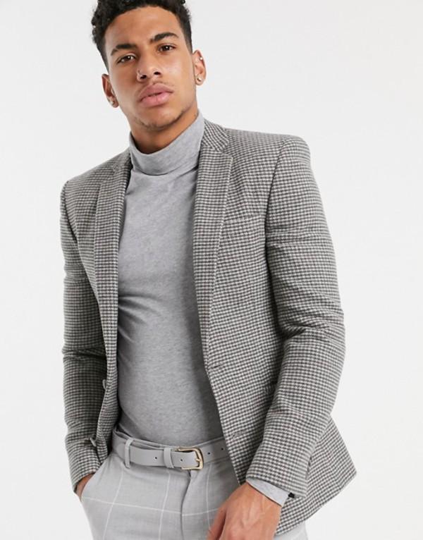 エイソス メンズ ジャケット・ブルゾン アウター ASOS DESIGN super skinny blazer in gray houndstooth Gray