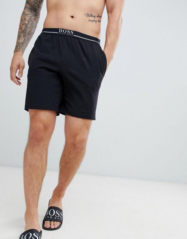 ボス メンズ ハーフパンツ・ショーツ ボトムス BOSS lounge shorts with contrast waistband Black