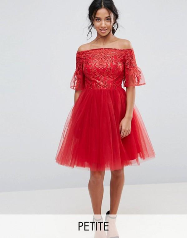 チチロンドン レディース ワンピース トップス Chi Chi London Petite Tulle Midi Prom Dress With Lace Fluted Sleeves Red