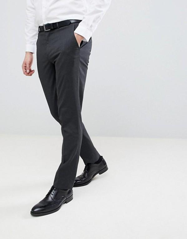 リバーアイランド メンズ カジュアルパンツ ボトムス River Island slim smart pants in gray Gray