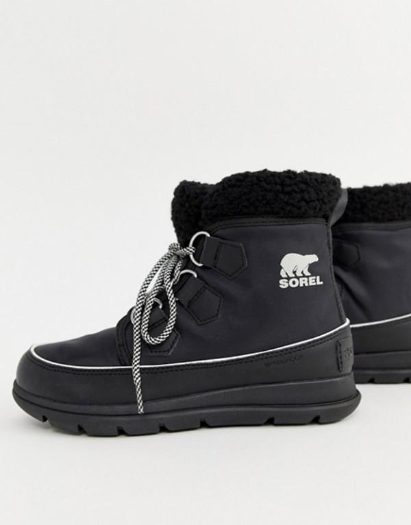 ソレル レディース ブーツ・レインブーツ シューズ Sorel Explorer Carnival Waterproof Black Nylon Boots With Microfleece Lining Black