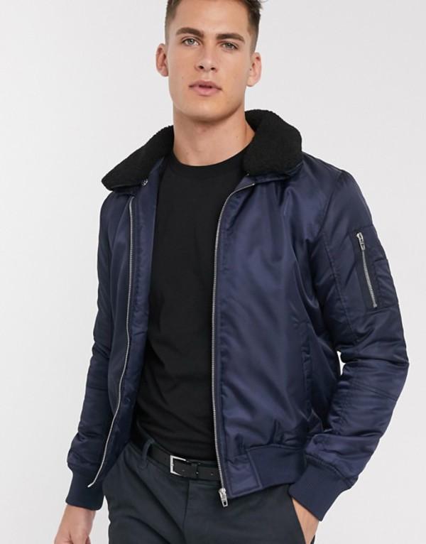 フレンチコネクション メンズ ジャケット・ブルゾン アウター French Connection padded bomber jacket with removable fleece collar Navy
