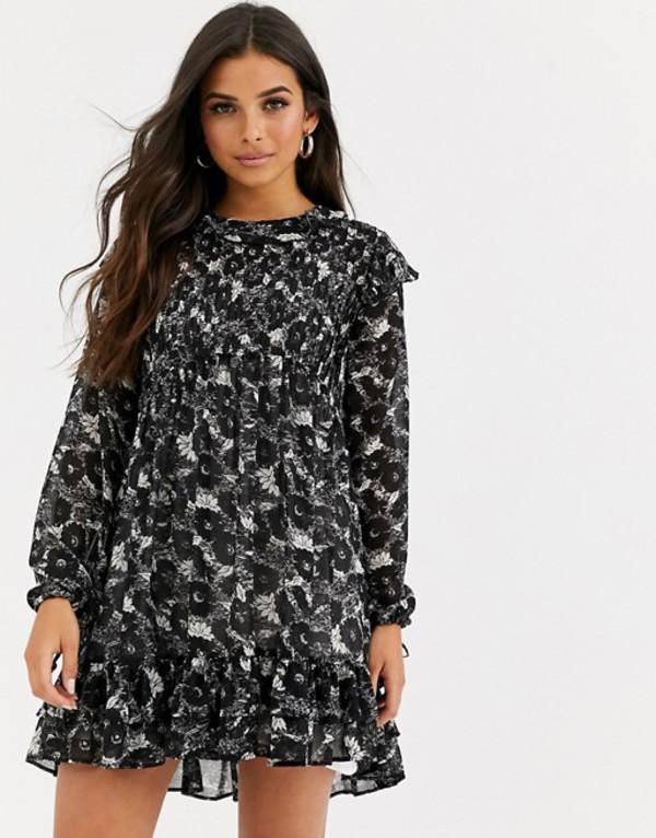 フリーピープル レディース ワンピース トップス Free People These Dreams floral print dress Black