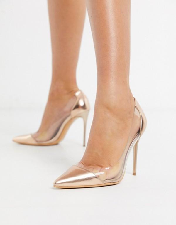 トリュフコレクション レディース ヒール シューズ Truffle Collection clear stiletto heeled shoes in rose gold Rose gold