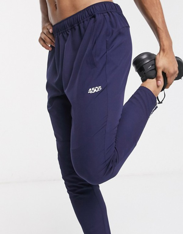 エイソス メンズ カジュアルパンツ ボトムス ASOS 4505 woven skinny tapered running sweatpants with reflective zip detail in navy Navy
