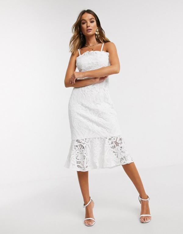 チチロンドン レディース ワンピース トップス Chi Chi London lace pephem pencil dress in white White