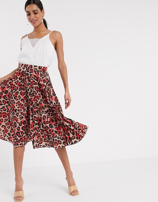 クローゼットロンドン レディース スカート ボトムス Closet London pleated midi skirt in blush leopard Pink print
