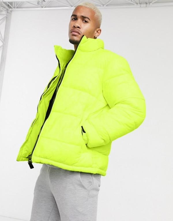 プルアンドベアー メンズ ジャケット・ブルゾン アウター Pull&Bear neon puffer jacket in yellow Yellow