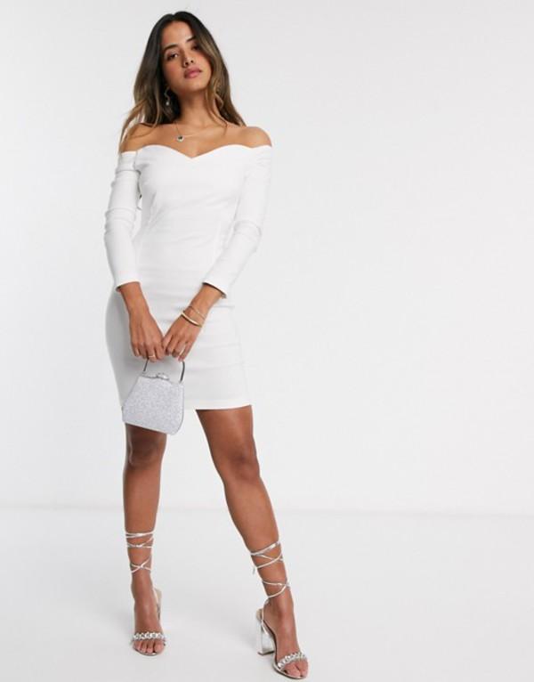 ベスパー レディース ワンピース トップス Vesper Cammie mini bardot dress in cream Cream