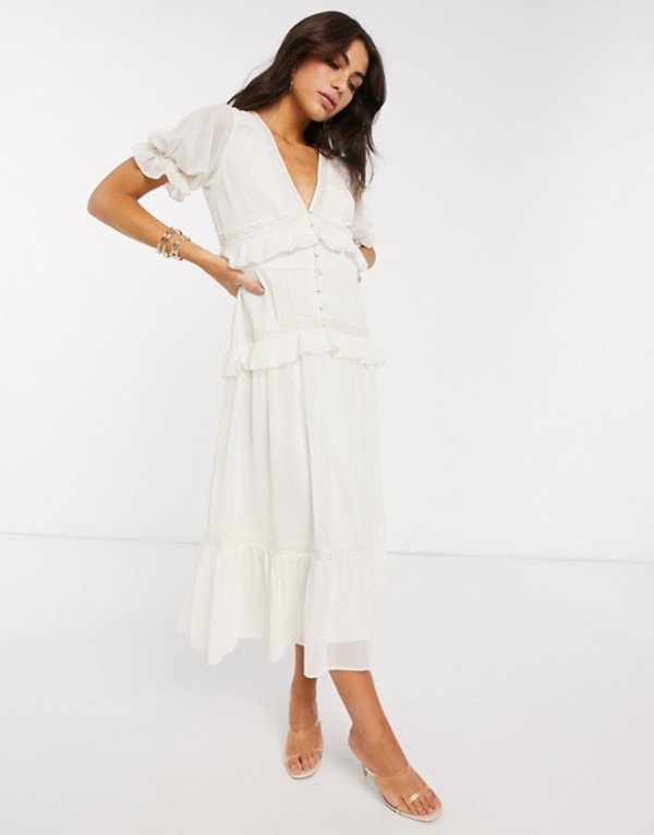 エイソス レディース ワンピース トップス ASOS DESIGN button through lace insert tiered midi dress in ivory Ivory
