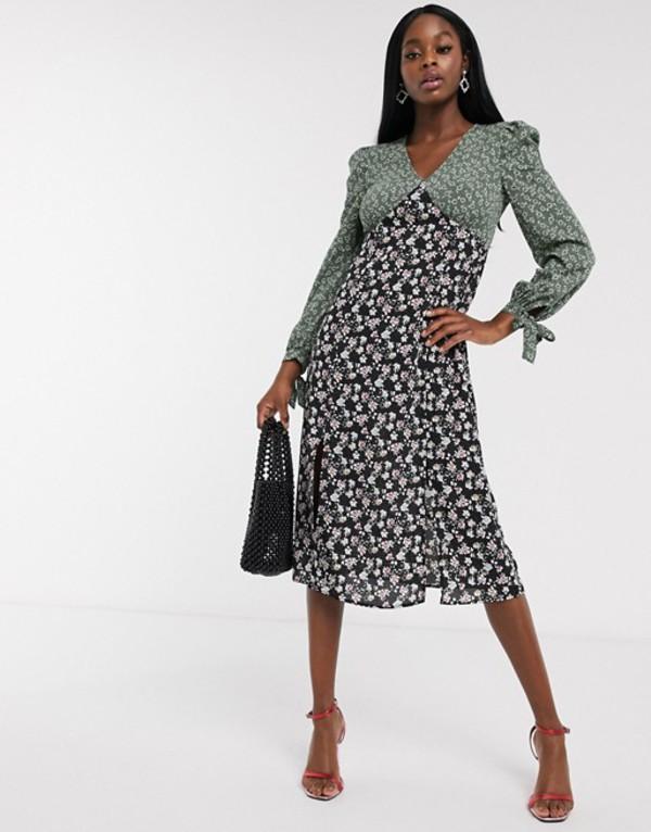 ネバーフリードレスド レディース ワンピース トップス Never Fully Dressed long sleeve contrast midi dress in multi floral Dark floral print