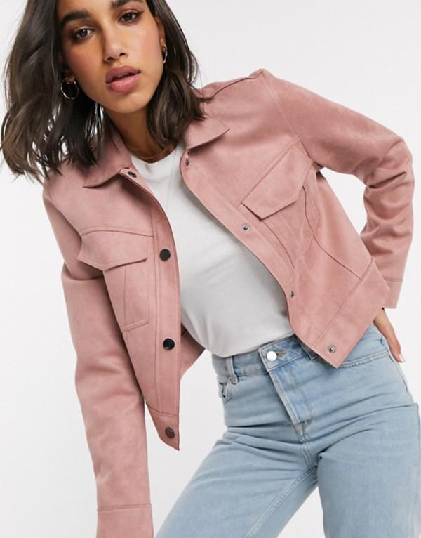 ストラディバリウス レディース ジャケット・ブルゾン アウター Stradivarius faux suede jacket in pink Pink