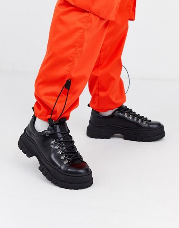 エイソス メンズ スニーカー シューズ ASOS DESIGN sneaker shoes in black faux leather with chunky sole Black