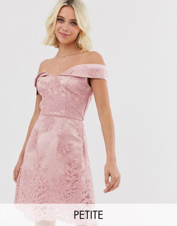 チチロンドン レディース ワンピース トップス Chi Chi London Petite bardot jacquard lace mini dress in pink Pink