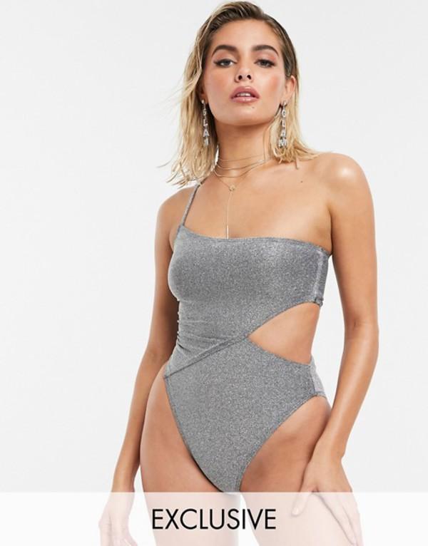 サウスビーチ レディース 上下セット 水着 South Beach Exclusive cut out high leg swimsuit in metallic silver glitter Silver