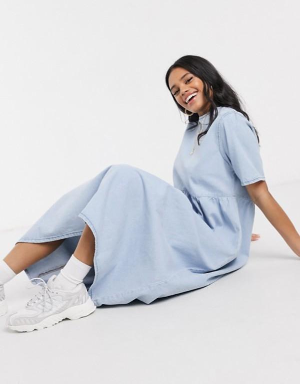 エイソス レディース ワンピース トップス ASOS DESIGN denim soft midi smock dress in blue Blue