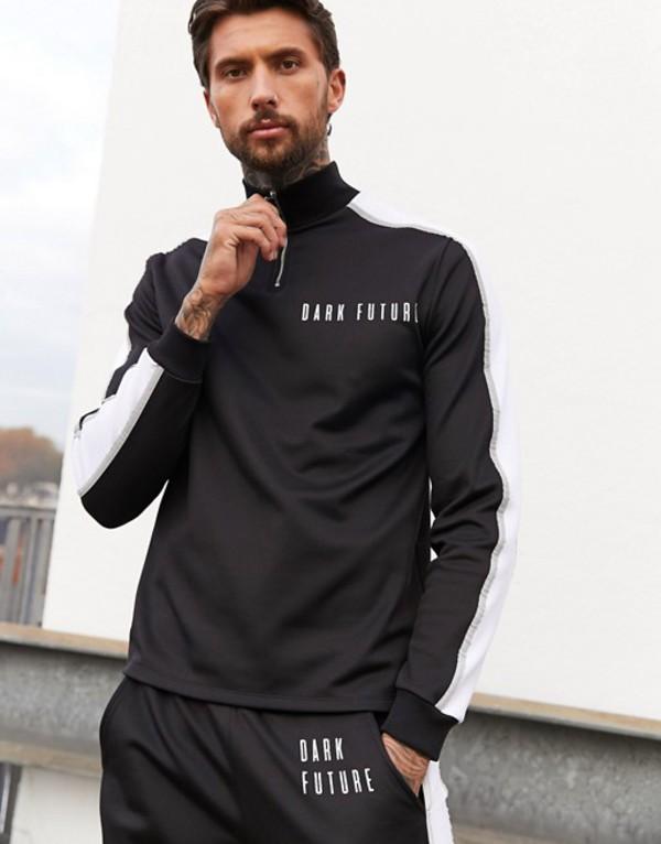 エイソス メンズ ジャケット・ブルゾン アウター ASOS DESIGN x Dark Future track jacket two-piece with reflective piping and logo Black