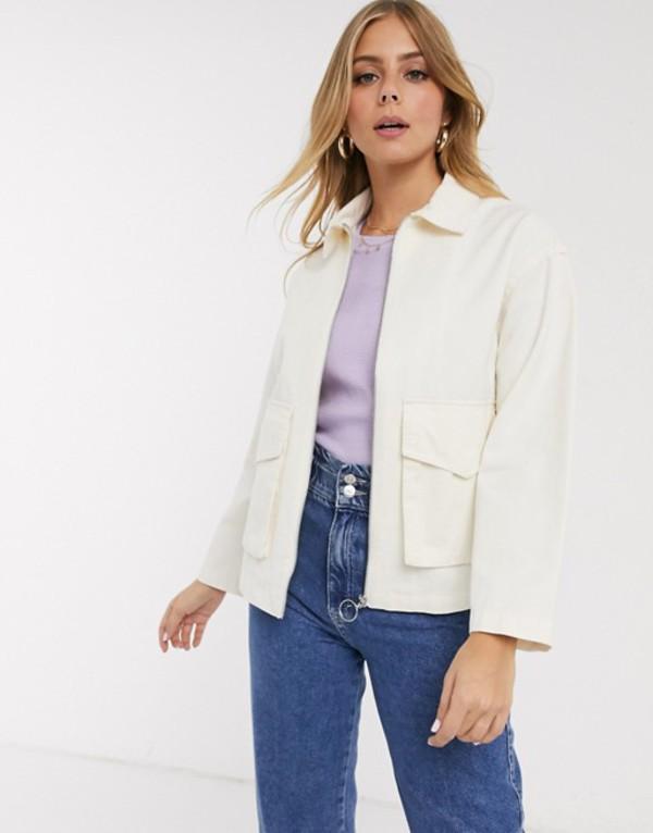 エイソス レディース ジャケット・ブルゾン アウター ASOS DESIGN cotton pocket jacket in cream Cream