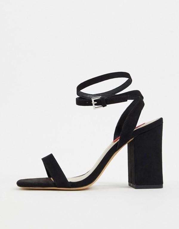 ロンドンレベル レディース サンダル シューズ London Rebel block heel barely there sandal in black Black