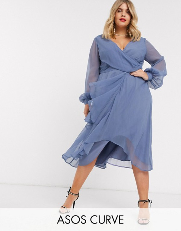 エイソス レディース ワンピース トップス ASOS DESIGN Curve wrap waist midi dress with double layer skirt and long sleeve Light blue