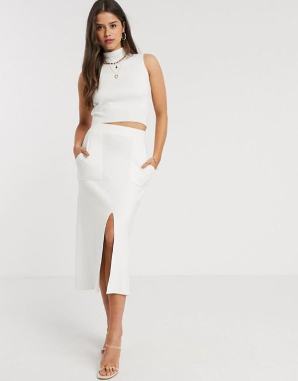 ファッションモンキー レディース スカート ボトムス Fashion Union knitted midi skirt with split two-piece White