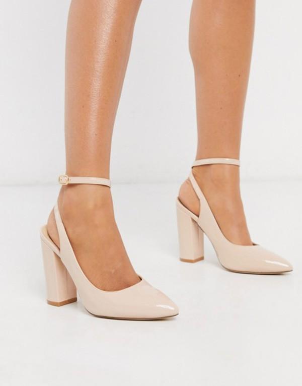 トリュフコレクション レディース ヒール シューズ Truffle Collection pointed block heeled shoes in beige Beige