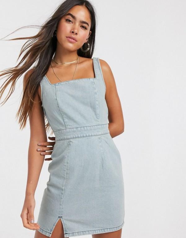 エイソス レディース ワンピース トップス ASOS DESIGN denim mini dress in light wash blue Blue