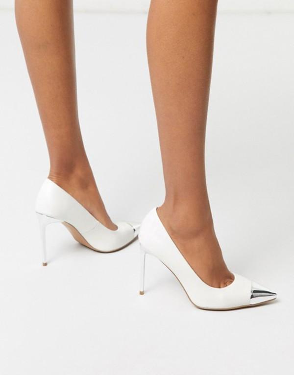 エイソス レディース ヒール シューズ ASOS DESIGN Paige stilletto pumps with toe cap in white White/silver