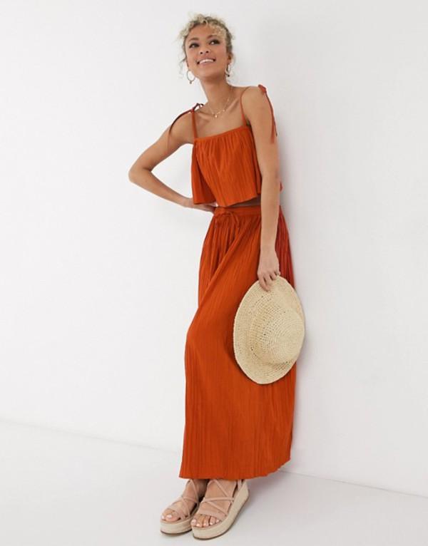 エイソス レディース スカート ボトムス ASOS DESIGN maxi crinkle column skirt in rust two-piece Rust