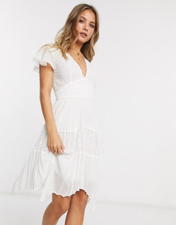 フレンチコネクション レディース ワンピース トップス French Connection lace pleated hankerchief hem mini dress Summer white