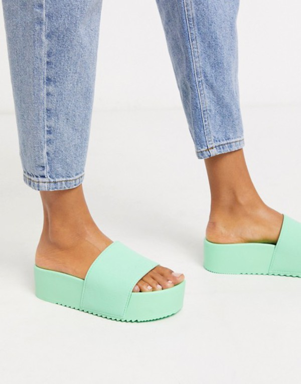 エイソス レディース サンダル シューズ ASOS DESIGN Focused flatform sliders in mint green Mint green