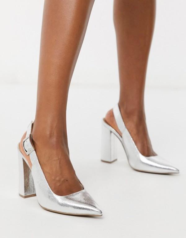 エイソス レディース ヒール シューズ ASOS DESIGN Planet slingback high block heels in silver crackle Silver crackle