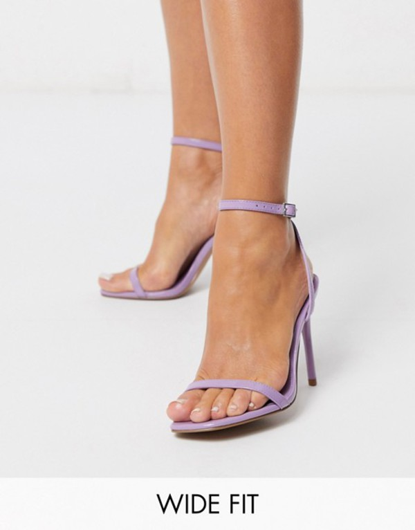 エイソス レディース サンダル シューズ ASOS DESIGN Wide Fit Nova barely there heeled sandals in lilac Lilac