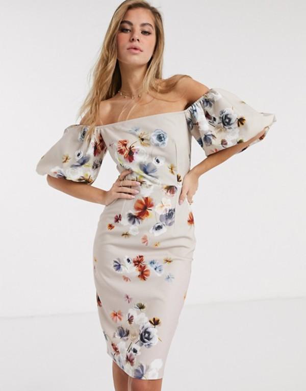 リトルミストレス レディース ワンピース トップス Little Mistress pencil dress with balloon sleeve in floral print Floral print