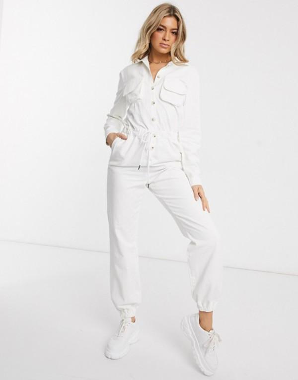 プリティリトルシング レディース ワンピース トップス PrettyLittleThing denim jumpsuit with button through in white Off white