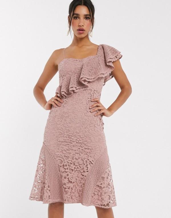 エイソス レディース ワンピース トップス ASOS DESIGN one shoulder lace ruffle midi dress Maueve