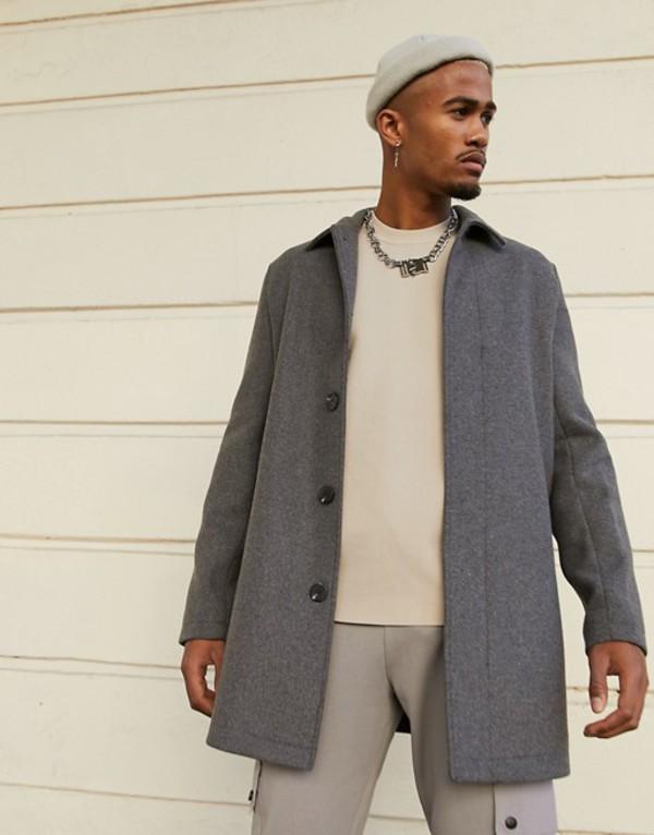 in gray アウター Gray mix DESIGN コート wool ASOS メンズ coat エイソス