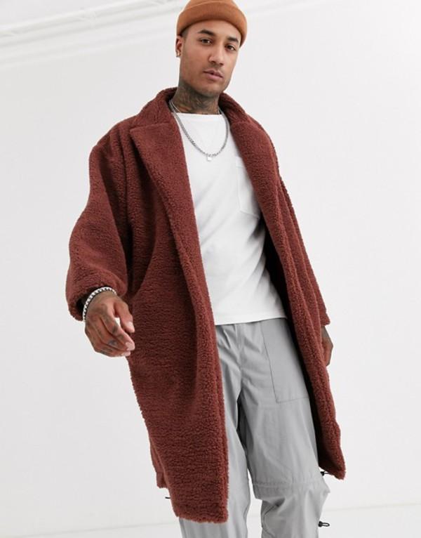 エイソス メンズ ジャケット・ブルゾン アウター ASOS DESIGN extreme oversized duster jacket in brown teddy borg Cinnamon