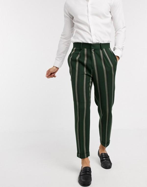 エイソス メンズ カジュアルパンツ ボトムス ASOS DESIGN smart tapered pants in green stripe Green