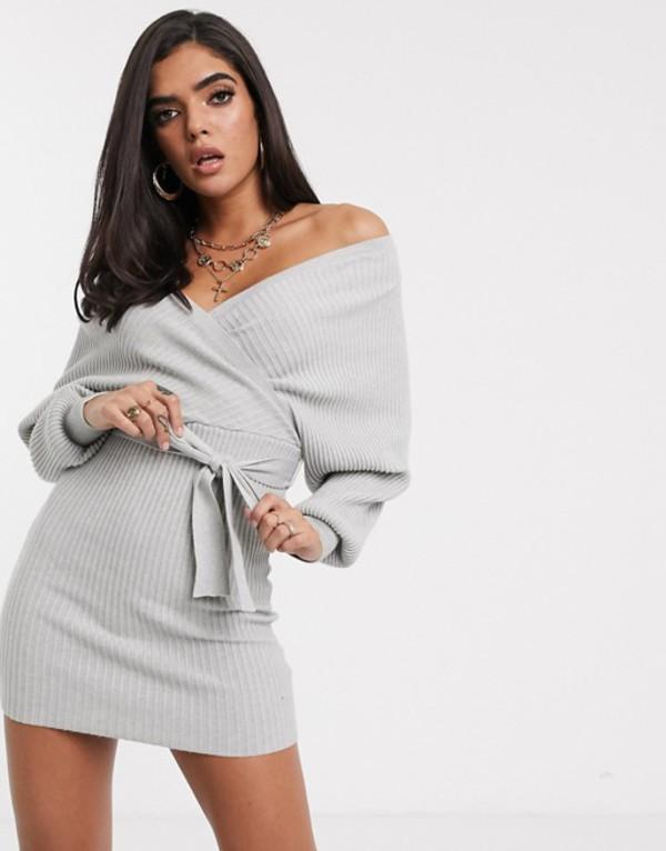 パラレルライン図 レディース ワンピース トップス Parallel Lines knitted wrap mini dress with cut out back Gray